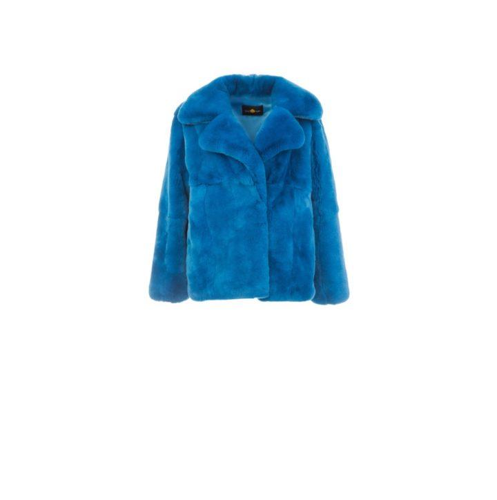 Turquoise rex fur coat