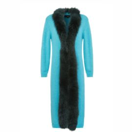 Turquoise cardigan with artic fox edge