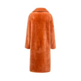 Orange mouton fur coat