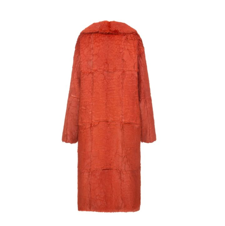 Orange rabbit fur coat