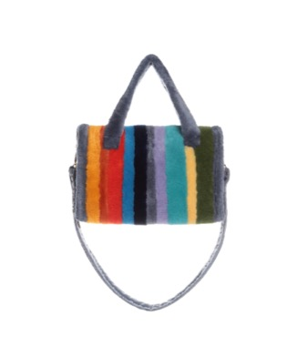 Mouton fur medium stripped bag
