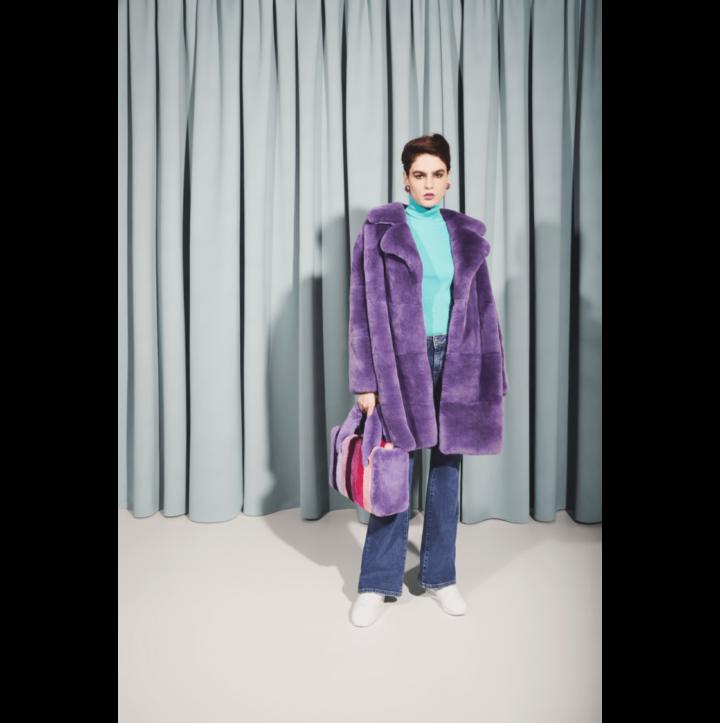Violet rex fur coat