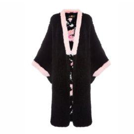 """Black fur kimono """"Sakura"""""""