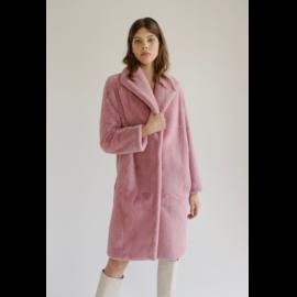 Pink rex fur coat knee-length