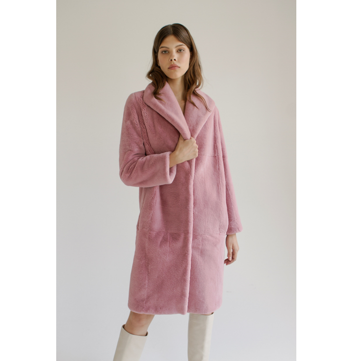 Pink rex fur coat knee-length