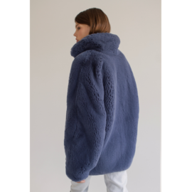 Dark blue faux fur coat