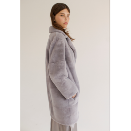 Grey rex fur coat