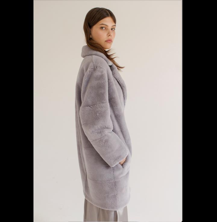 Grey rex fur coat