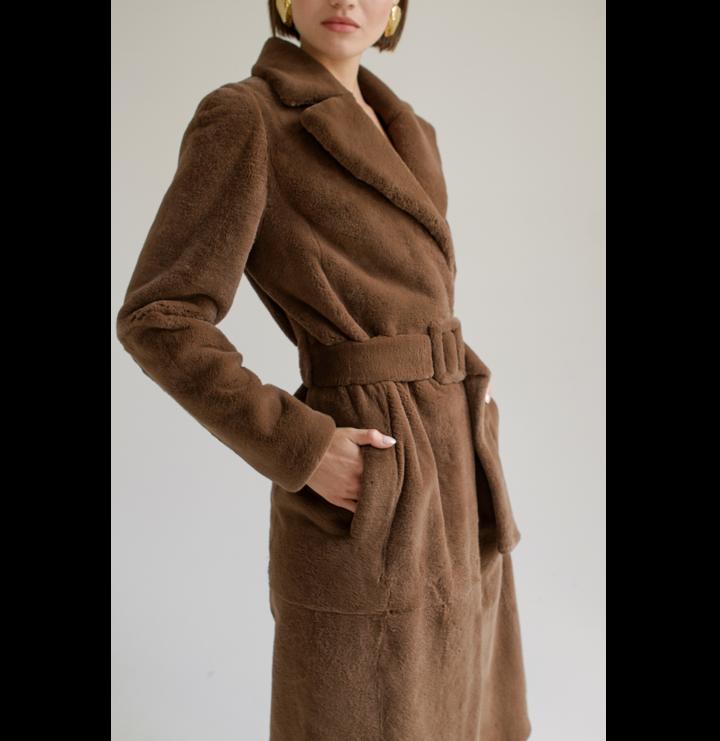 Brown rex fur belted coat