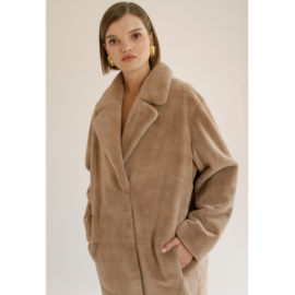 Beige rex fur coat