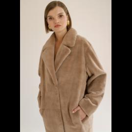 Beige rex fur coat