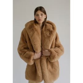 Faux fur coat with teddy ears