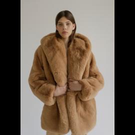 Faux fur coat with teddy ears