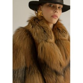 Oversized fox fur coat