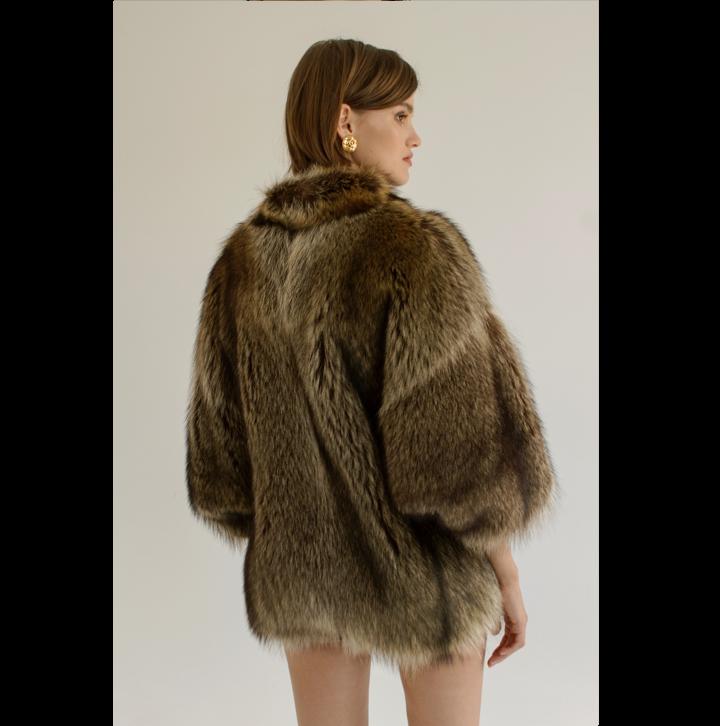 Short racoon fur coat