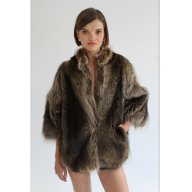 Short racoon fur coat