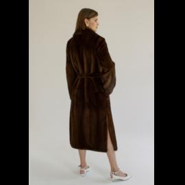 Classic long mink fur belted coat