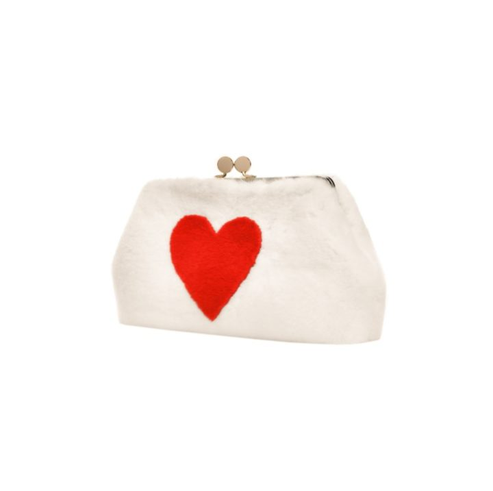 Rex fur bag with heart application