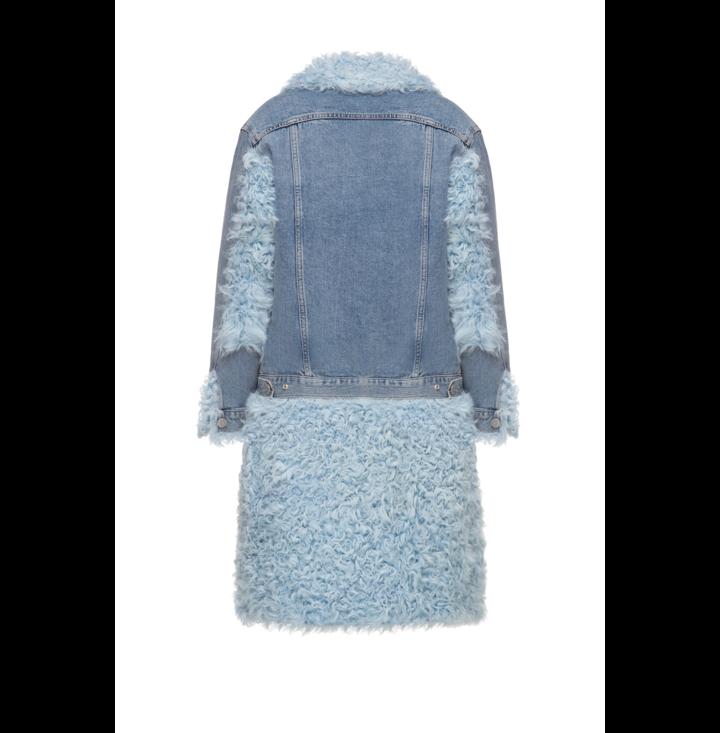 Long denim jacket with kalgan fur