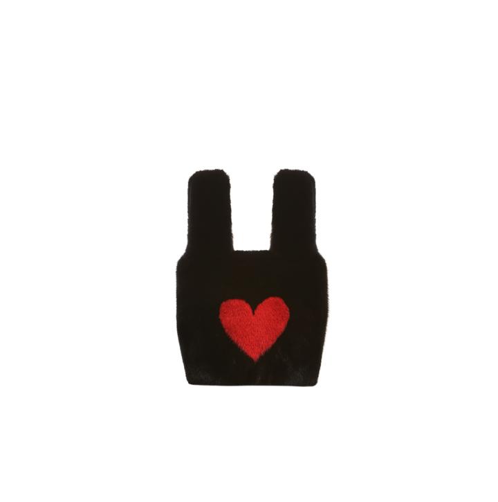 Mink fur bag with heart application
