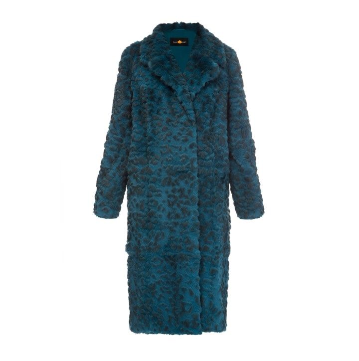 Rabbit fur coat with leopard print