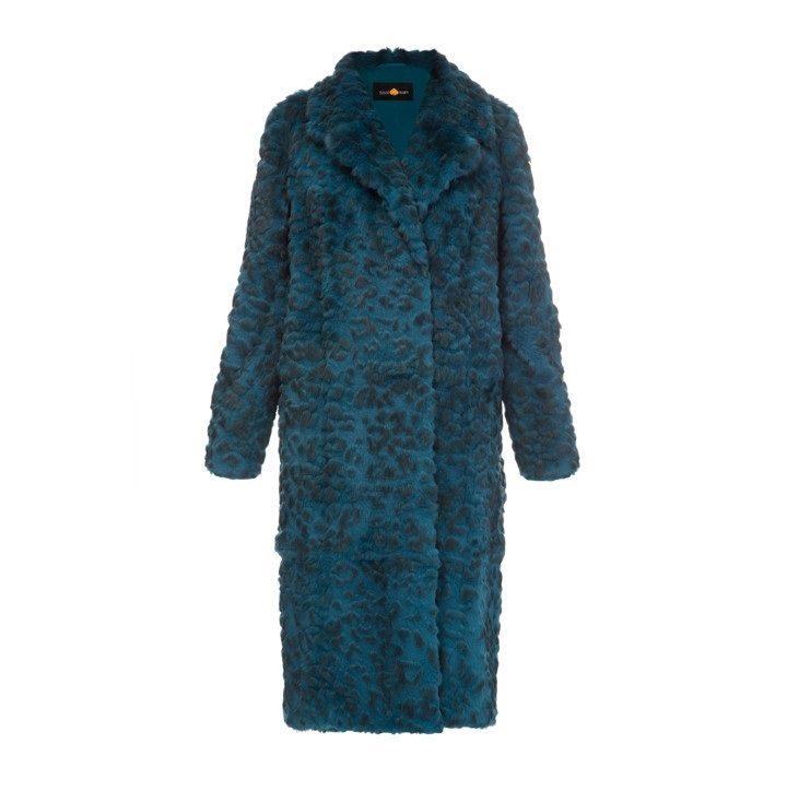 Rabbit fur coat with leopard print
