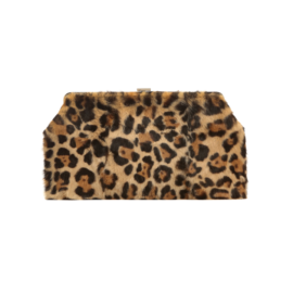 Rabbit fur bag with leopard print