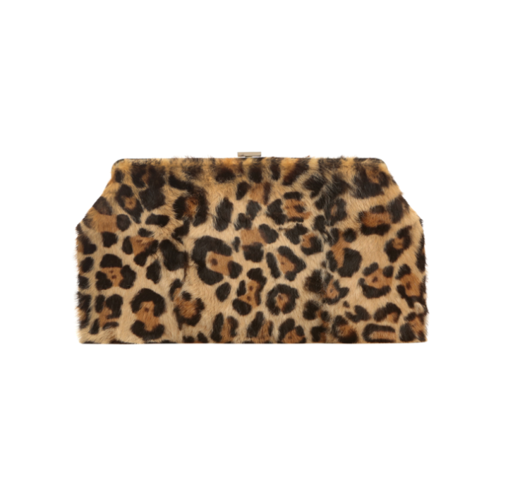 Rabbit fur bag with leopard print