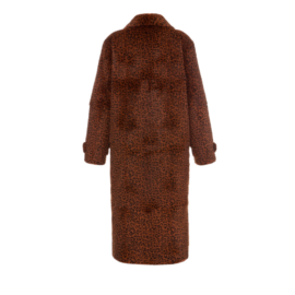 Rabbit fur coat with leopard print and shiny buttons