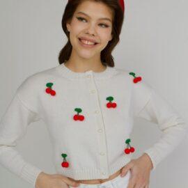 Cherries cropped cardigan