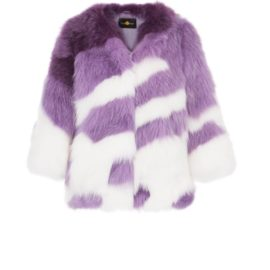 Multicolor cropped arctic fox fur coat