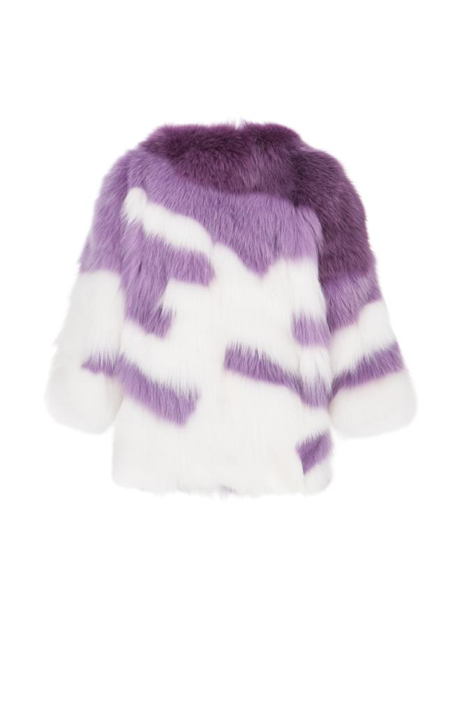 Multicolor cropped arctic fox fur coat