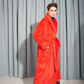 RED FAUX FUR ROBE COAT